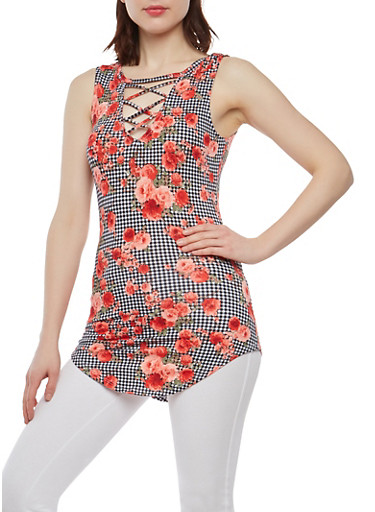 Printed Caged Keyhole Tunic Top,ROSE PINK,large