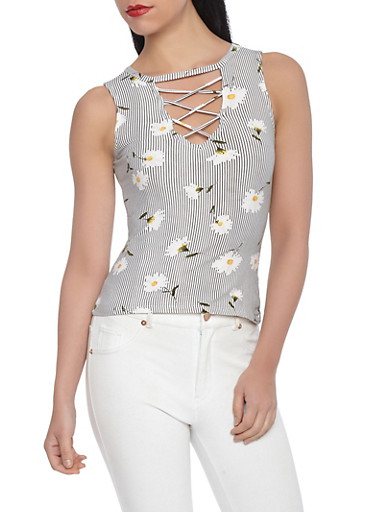 Striped Floral Caged Neck Tank Top,WHITE,large