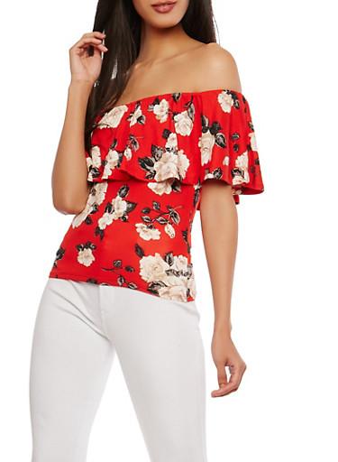 Floral Soft Knit Off the Shoulder Top,RED,large