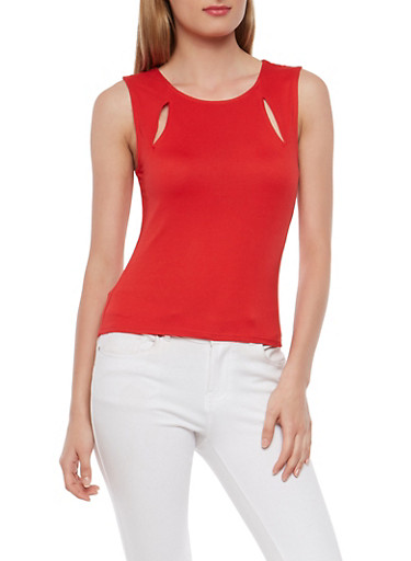 Slit Detail Tank Top,RED,large