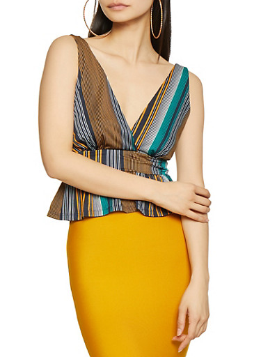 Striped Tie Back Peplum Top,NAVY,large