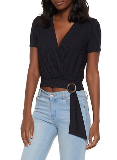 Ribbed Faux Wrap Buckle Top,BLACK,large