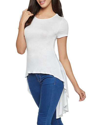 Solid High Low Tee,WHITE,large