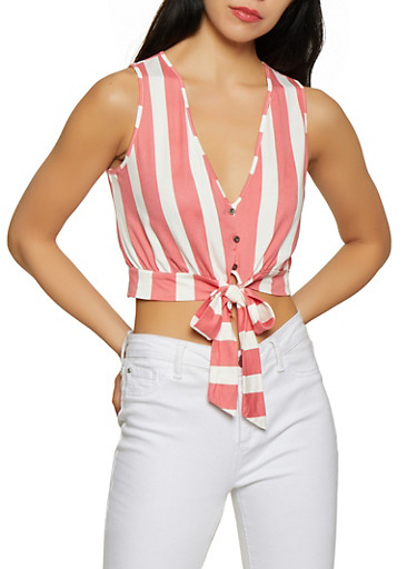Faux Button Striped Crop Top,MAUVE,large