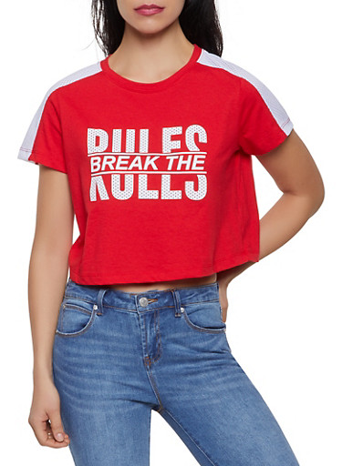 Graphic Jersey Mesh Cropped Tee,RED,large