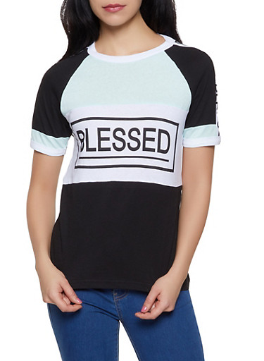 Blessed Color Block Tee,JADE,large