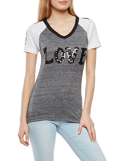 Sequined Graphic Tee,CHARCOAL,large