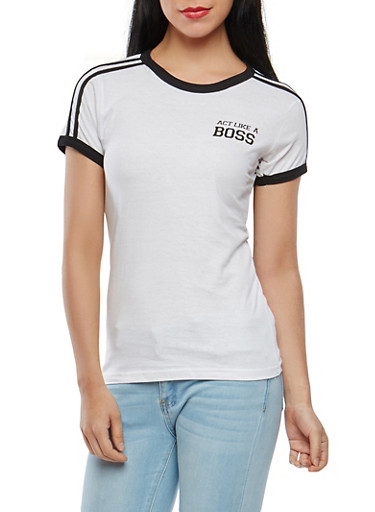 Boss Graphic Contrast Trim Tee,WHITE,large