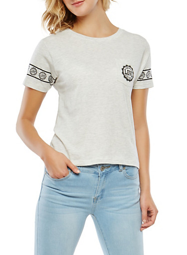 Love Graphic Pocket Tee,OATMEAL,large