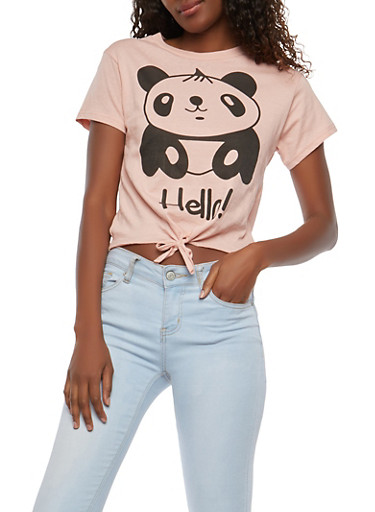 Hello Goodbye Panda Graphic Top,MAUVE,large