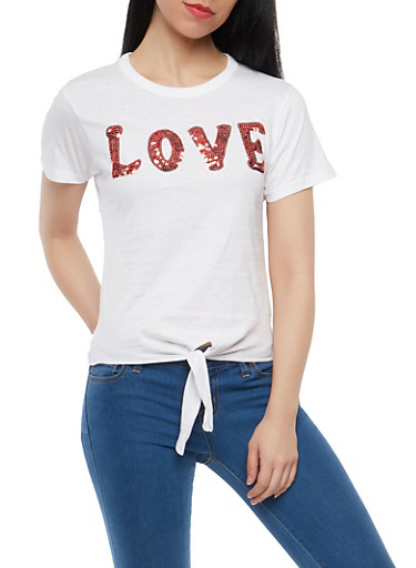 Sequin Love Graphic Tie Front T Shirt,WHITE,large