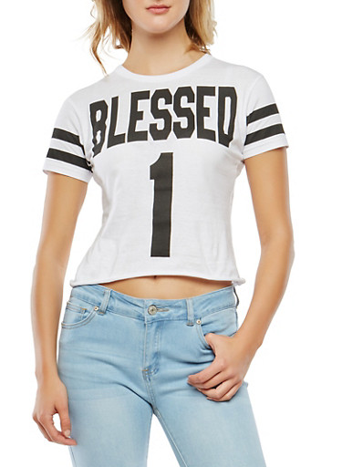 Blessed Graphic Tee,WHITE,large