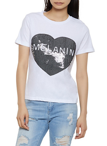 Melanin Sequin Heart Tee,WHITE,large