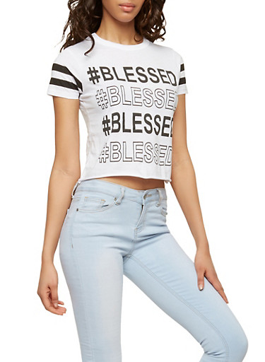 Blessed Graphic T Shirt,WHITE,large