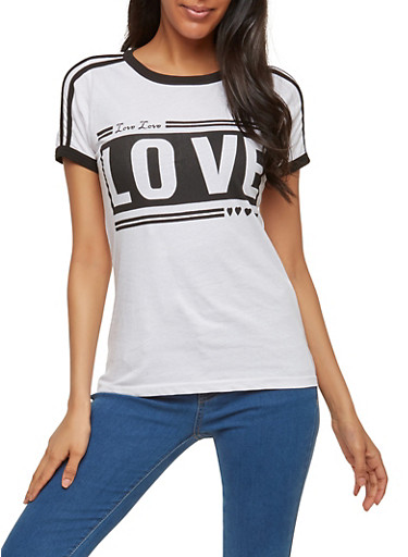Love Graphic Contrast Trim T Shirt,WHITE,large