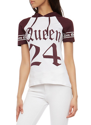 Queen Graphic Hooded Top,PLUM,large