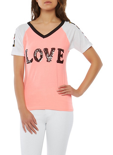 Love Sequin Graphic T Shirt,PINK,large