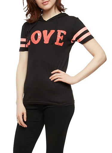 Sequin Love Graphic T Shirt at Rainbow Shops in Jacksonville, FL | Tuggl