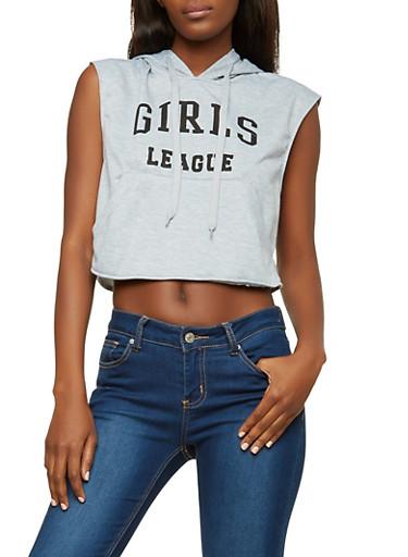 Graphic Cropped Sleeveless Sweatshirt,HEATHER,large