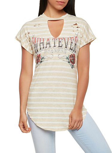 Distressed Graphic Tunic,OATMEAL,large