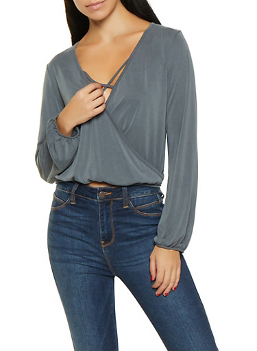 Faux Wrap Brushed Knit Top,GRAY,large