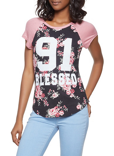 Blessed Graphic Floral Baseball Tee,BLACK,large