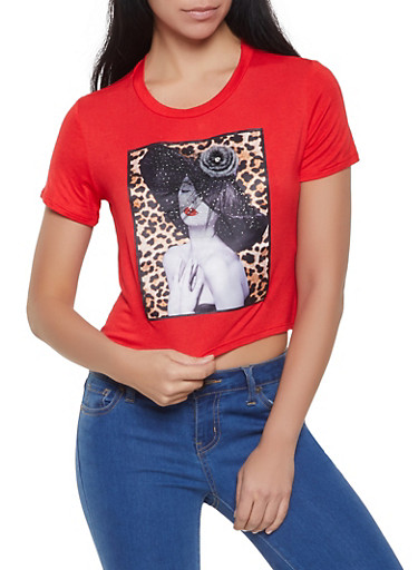 Graphic Cropped Tee,RED,large