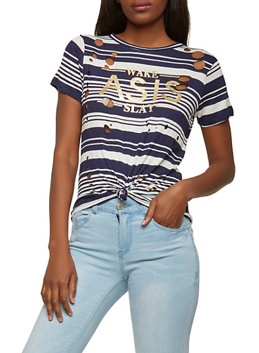 Striped Graphic Laser Cut Tee,NAVY,large