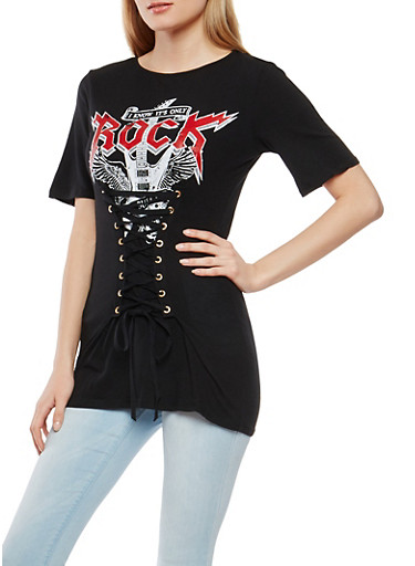 Corset Waist Graphic Tee,BLACK,large