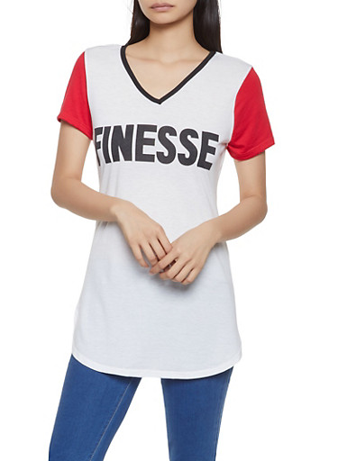 Finesse Graphic Tunic Top,WHITE,large