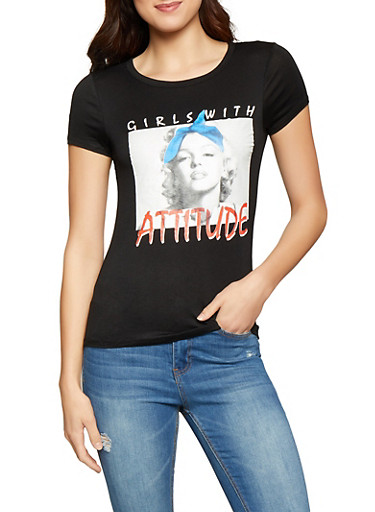 Girls with Attitude Graphic Tee,BLACK,large