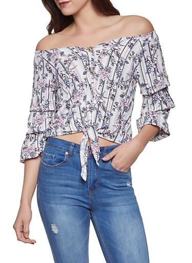 Striped Floral Off the Shoulder Shirt,PINK,large