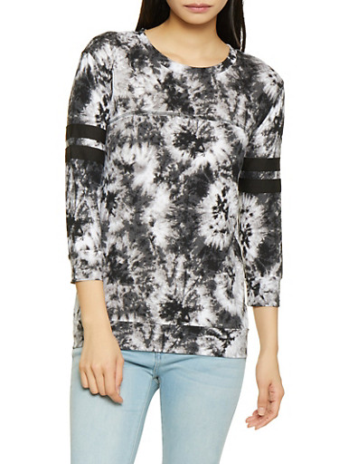 Tie Dye Baseball Tee,BLACK,large