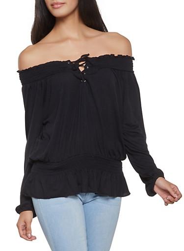 Smocked Off the Shoulder Top,BLACK,large