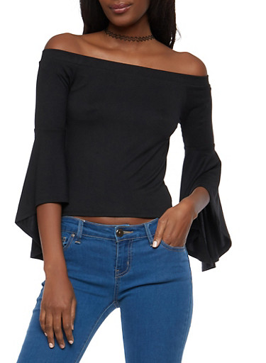 Off the Shoulder Bell Sleeve Top,BLACK,large