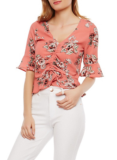 Crepe Knit Floral Bell Sleeve Top,RUST,large