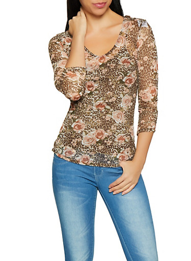Animal and Floral Print Mesh Top with Crochet Back,BROWN,large
