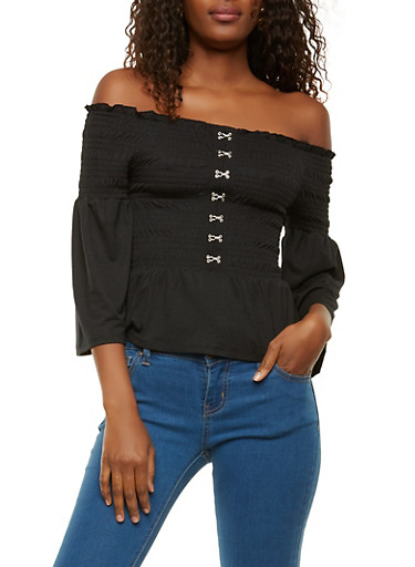 Smocked Off the Shoulder Top,BLACK,large