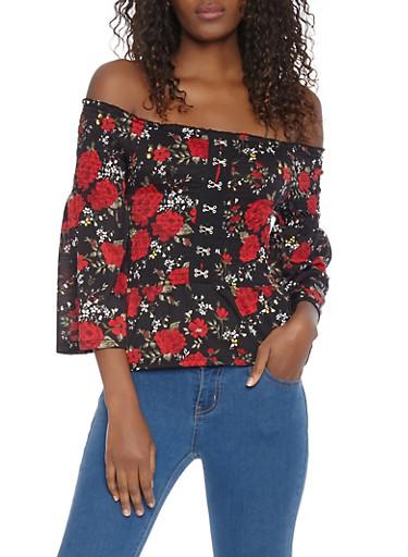 Floral Smocked Off the Shoulder Top,BLACK,large