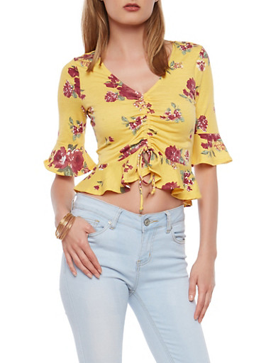 Yellow Floral Ruched Drawstring Front Top,YELLOW,large