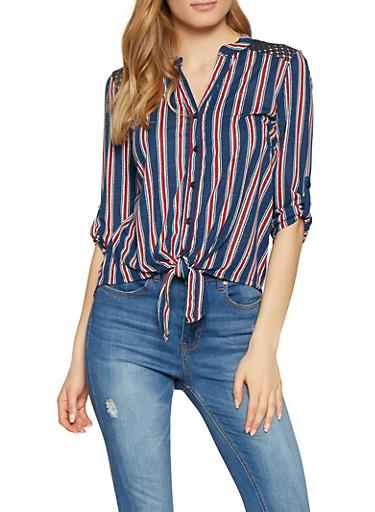 Striped Crochet Insert Shirt,NAVY,large