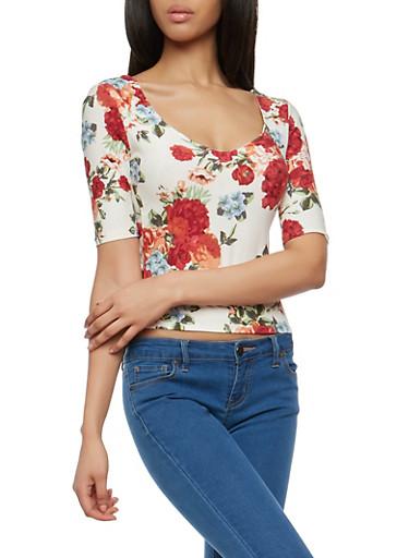 Floral Soft Knit Caged Back Top,IVORY,large
