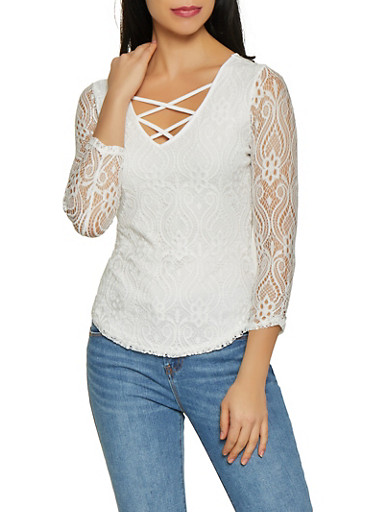 Caged V Neck Lace Top,WHITE,large