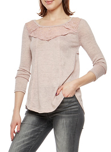 Marled Soft Knit Lace Yoke Top,BLUSH,large