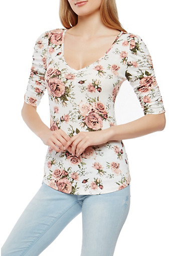 Floral Ruched Sleeve Top,IVORY,large