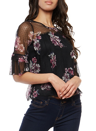 Floral Mesh Tiered Sleeve Top,BLACK,large