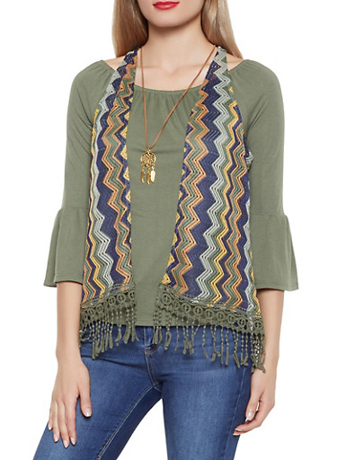 Bell Sleeve Top with Crochet Vest and Necklace,OLIVE,large