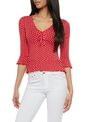 Polka Dot Bell Sleeve Top,RED,large