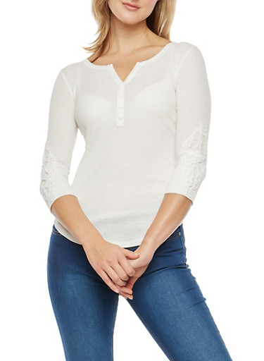 Rib Knit Henley Top with Crochet Sleeve Detail,CREAM,large