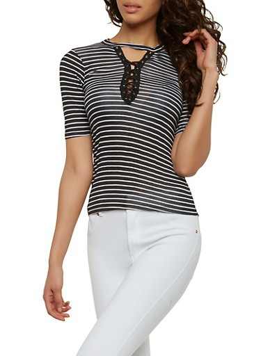 Striped Lace Up Keyhole Top,BLACK/WHITE,large